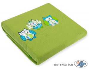 Polar fleece blanket - Owls Bigi Zibi & Adele- green