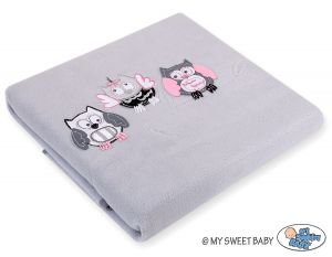 Polar fleece blanket - Owls Bigi Zibi & Adele- grey-pink