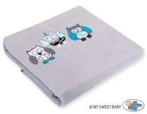 Polar fleece blanket - Owls Bigi Zibi & Adele- grey-turquoise