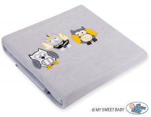 Polar fleece blanket - Owls Bigi Zibi & Adele- grey-yellow