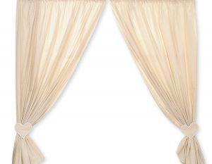 Curtains for baby room- Hanging Hearts white polka dots on beige