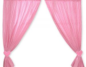 Curtains for baby room- Hanging Hearts white dark pink checkered