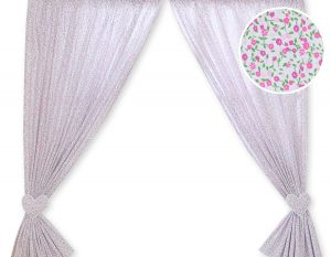 Curtains for baby room- Hanging Hearts pink flowers