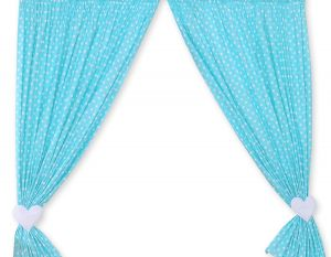 Curtains for baby room- Hanging Hearts white dots on turquoise