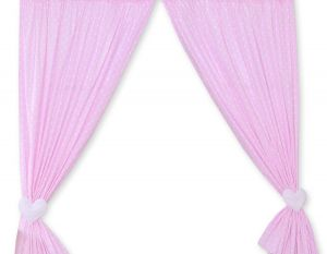 Curtains for baby room- Hanging Hearts white dots on pink