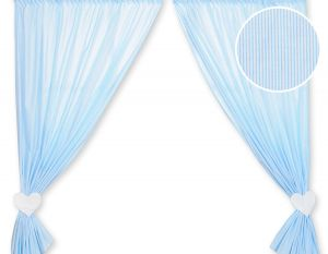 Curtains for baby room- Hanging Hearts blue strips