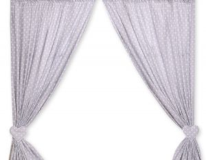 Curtains for baby room- Hanging Hearts white dots on grey