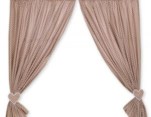 Curtains for baby room- Hanging Hearts white dots on brown