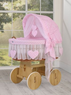 Moses Basket/Wicker hood crib- Amelie  white dots on pink