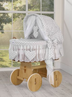 Moses Basket/Wicker hood crib- Amelie white dots on gray
