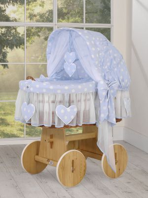 Moses Basket/Wicker hood crib- Amelie white dots on blue