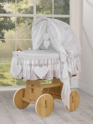 Moses Basket/Wicker hood crib- Amelie Grey flowers
