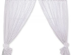 Curtains for baby room- Hanging Hearts black dots on white