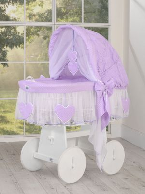 Moses Basket/Wicker hood crib- Amelie white polka dots on lilac  Limited Edition