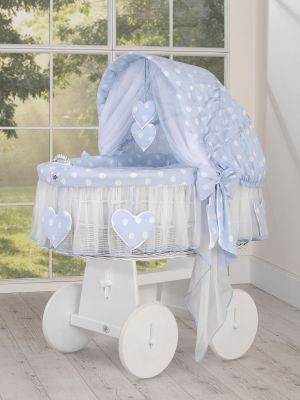 Moses Basket/Wicker crib with hood- Amelie  white dots on blue