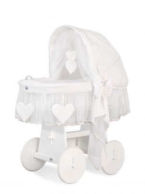 Moses Basket/Wicker hood crib- Amelie gold stars Limited Edition