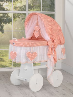 Moses Basket/Wicker hood crib- Amelie white dots on peachLimited Edition