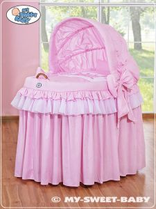 Moses Basket/Wicker crib with hood- Little Prince/Princess pink