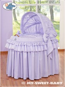 Moses Basket/Wicker crib with hood- Little Prince/Princess lilac