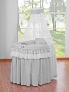 Moses Basket/Wicker drape crib- Little Prince/Princess gray