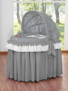 Moses Basket/Wicker hood crib- Little Prince/Princess anthracite