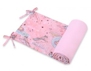 Universal bumper for cot - unicorn pink
