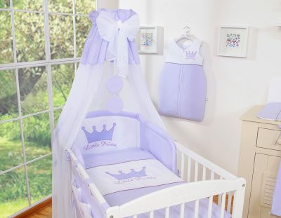 Bedding set 7-pcs with canopy- Little Prince/Princess lilac