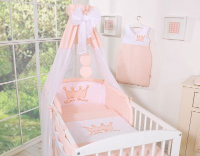 Bedding set 7-pcs with canopy- Little Prince/Princess powder pink