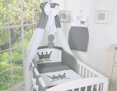 Bedding set 7-pcs with canopy- Little Prince/Princess anthracite