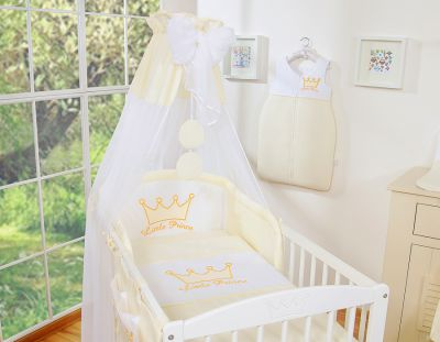 Bedding set 7-pcs with canopy- Little Prince/Princess cream