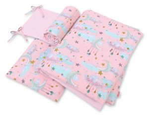 Bedding set 3-pcs - moons pink